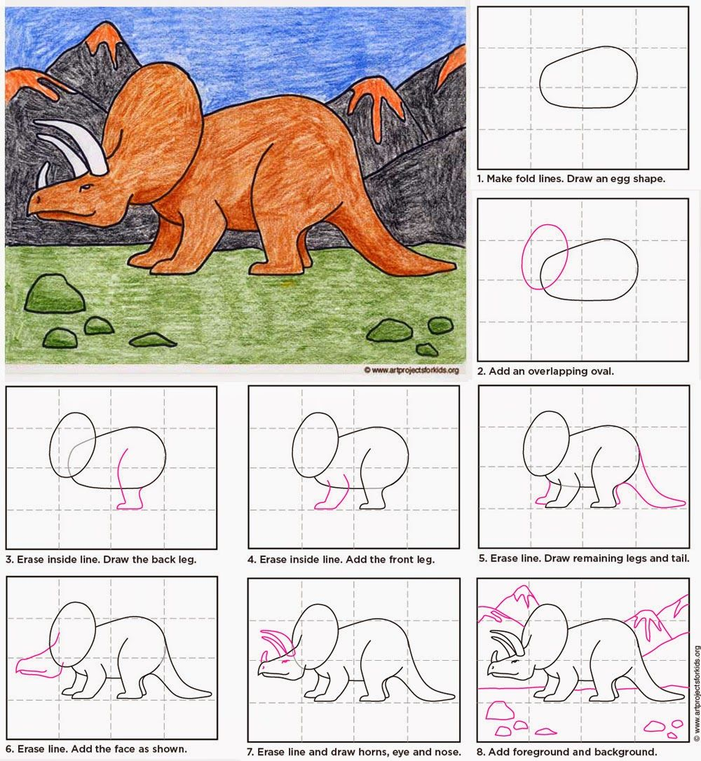 how to draw a triceratops dinosaur step by step