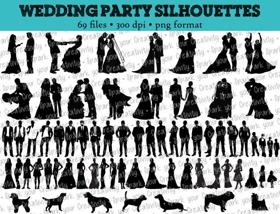 69 wedding party silhouettes wedding bride bridesmaid rh pinterest com Dance Silhouette Clip Art Airbrushing Silhouette Clip Art