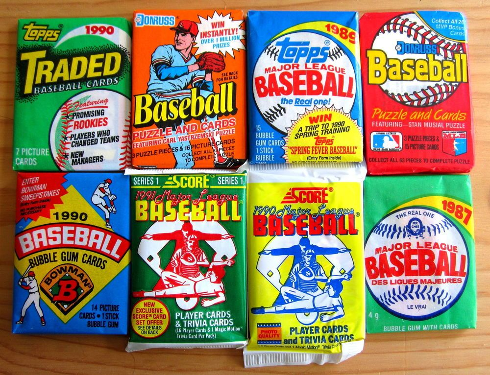 Details about 100 baseball cards closeout packs old