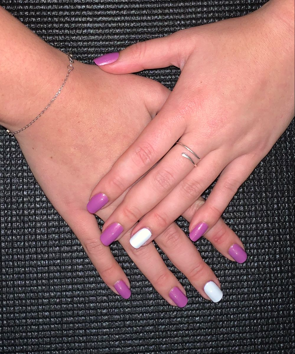 #sorbetnails and #essencecosmetics perfect white and purple duo #shortnails #shortnaildesigns #purplenails #whitenail #accentnails