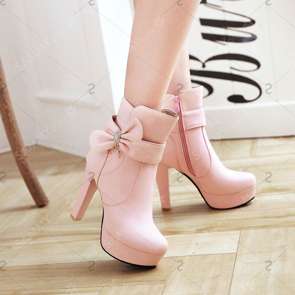 New High Heel Sweet Bow Fashionable Female Ankle Boots