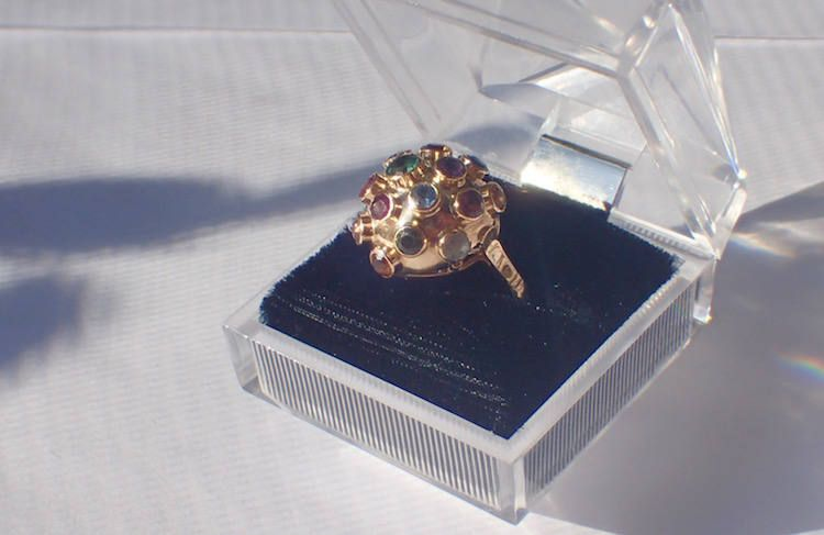 Vintage Costume Jewelry Sparkly Statement Ring 1970s Modernist Ring Gift for Her UK Size P Space Age Jewellery