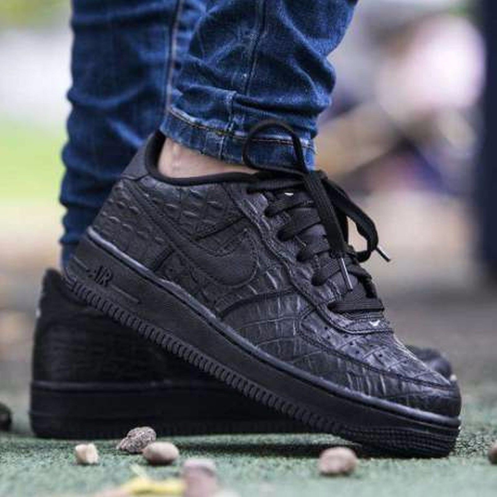 Nike Air Force 1 07 LV8 Black Croc 718152-007 Mens Sz 14 BLACK ... 38fed7e962cc
