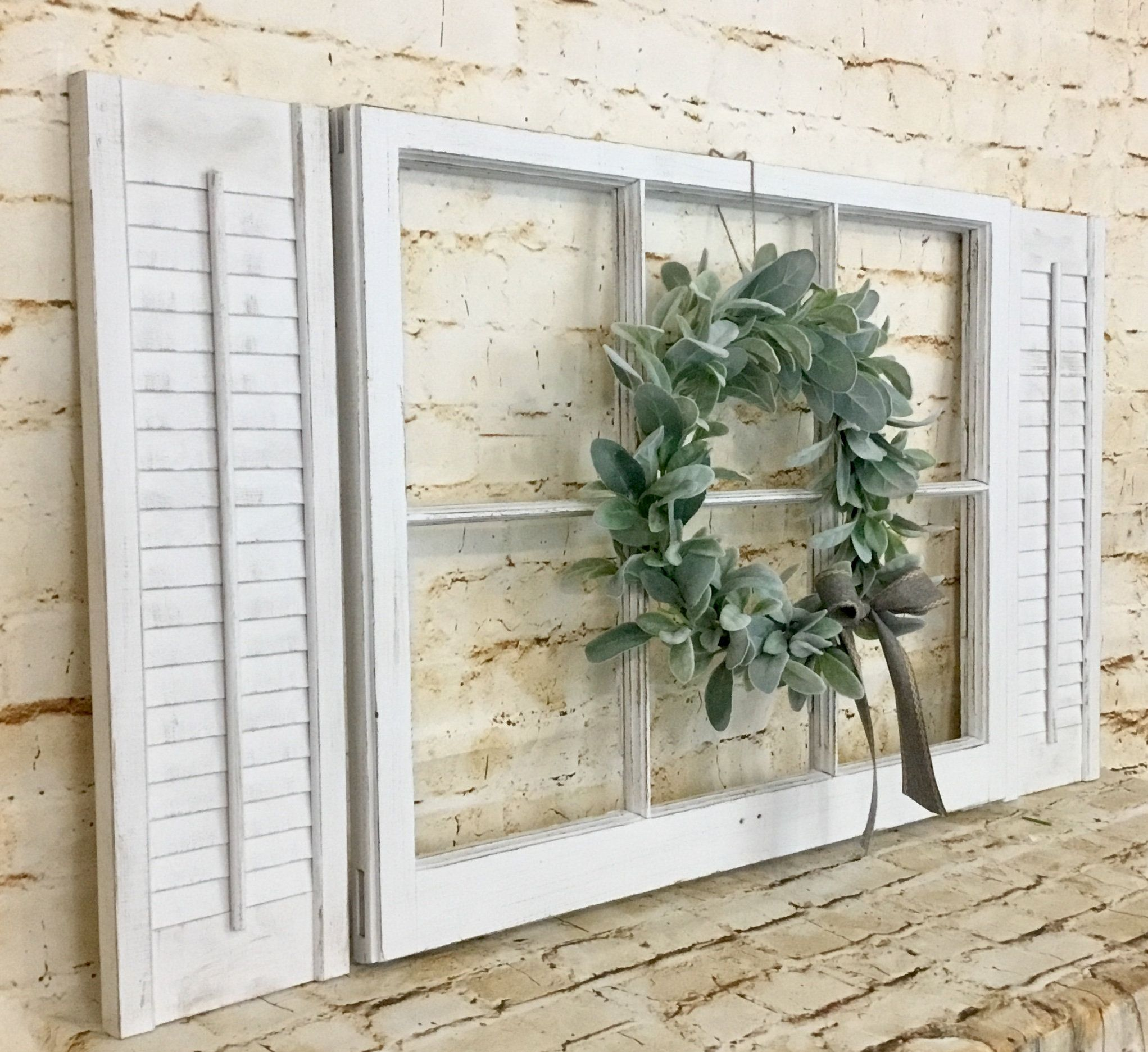 Farmhouse Window Frame With Shutters And Lamb S Ear Wreath Shutter Wall Decor Shutter Wall Shutter Decor
