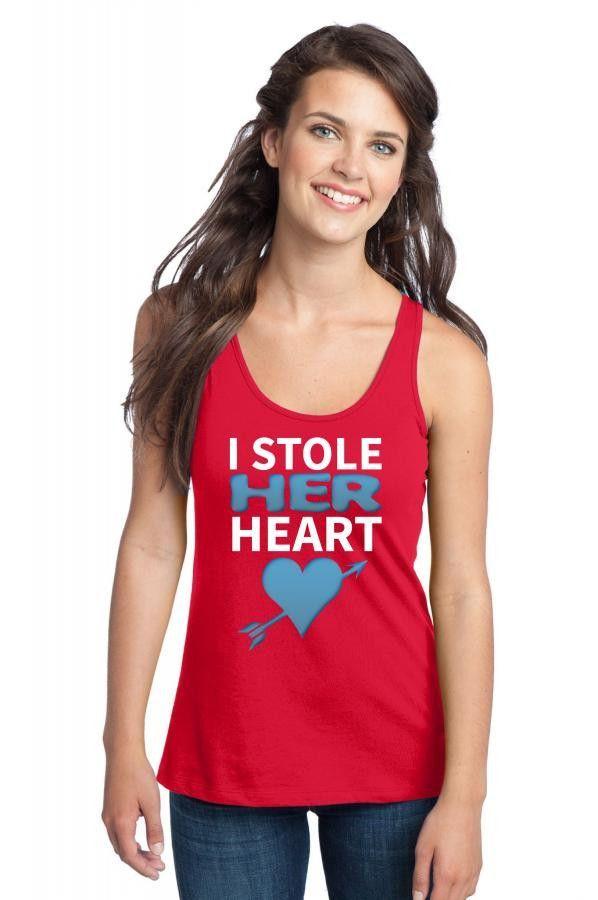 i stole her heart 1 black Racerback Tank