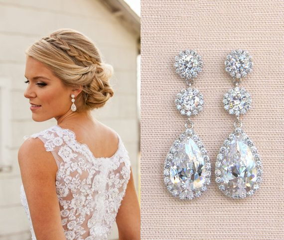 Crystal Bridal Earrings Wedding Long By CrystalAvenues