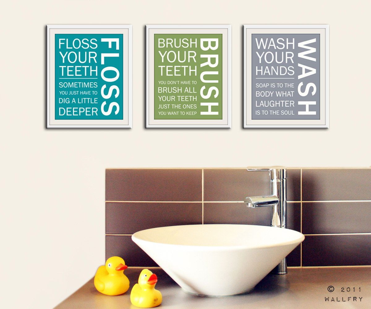 Merveilleux Kids Bathroom Wall Art. Bathroom Rules. Bathroom Prints Wash Brush Floss  Flush. Typography. SET OF 3 Prints By WallFry