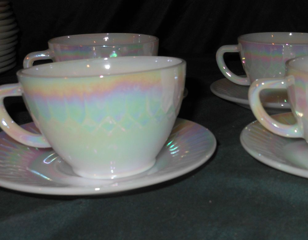 eb615903705 Set of 4 vintage Federal Glass Moonglow white pearl iridescent cups and  saucers in Pottery   Glass