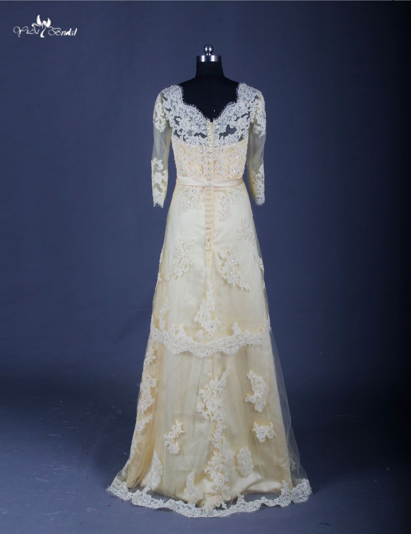 Long sleeved lace bridesmaid dress real sample yellow country