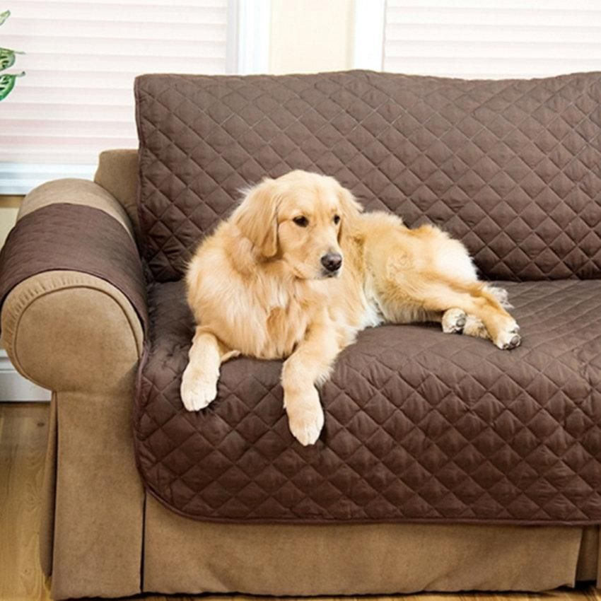 3 Colors 3 Size Quilted Sofa Chair Pet Dog Kids Furniture Protector Slip Cover
