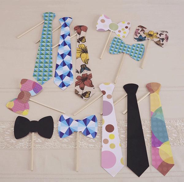Witziges Krawattenset um auf einer Party oder Hochzeit lustige Fotos mit den Freunden zu machen. Photokit Krawatte bei www.party-princess.de