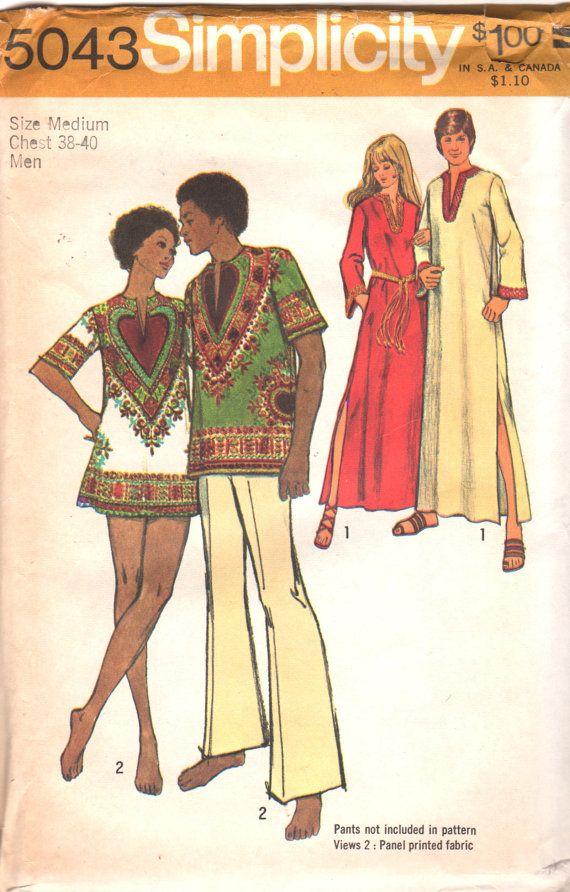 Simplicity 5043 MENS Caftan Dashiki Shirt Pattern Adult Vintage ...