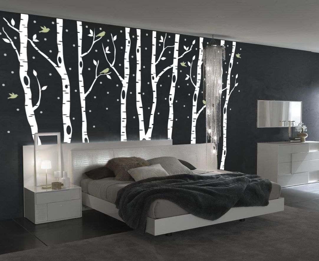 Bedroom Wall Art Trees Birch Tree Winter Forest Set Vinyl Wall Decal 1161 Diy
