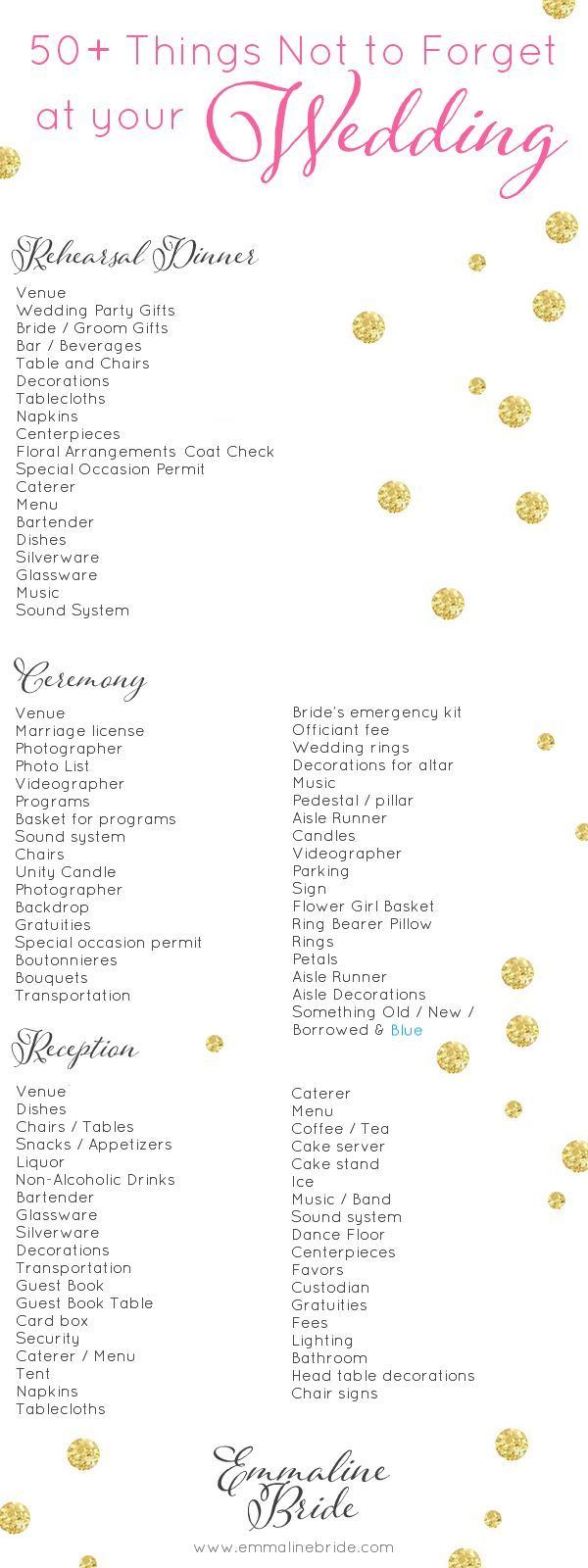 50 Things Not To Forget At Your Wedding Checklist Emmaline Bride