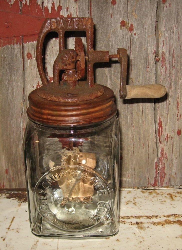Dazey Butter Churn Glass W Turning Wood Paddle Primitive