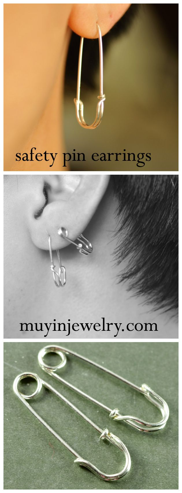 Cute Sterling Silver And 14k Gold Filled Safety Pin Earrings Muyinjewelry