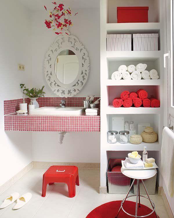 Cuarto de baño en blanco y rojo   Decoracion de baños ...