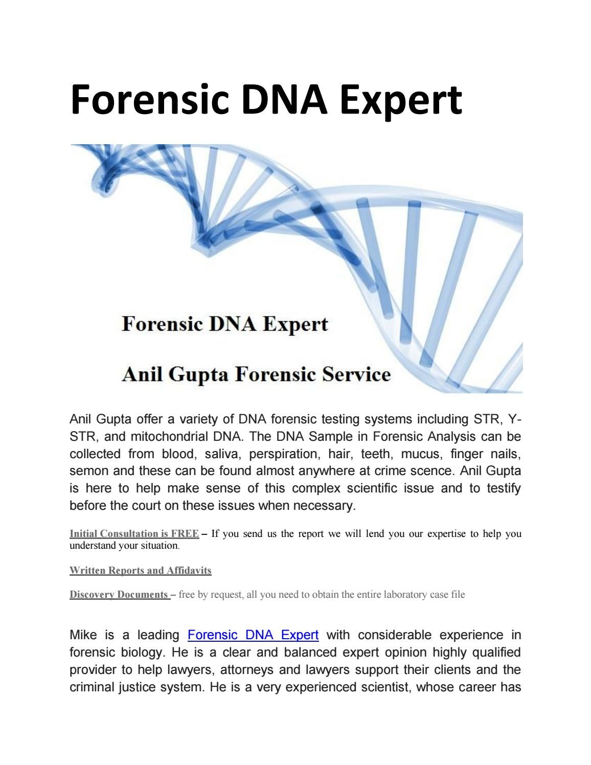 Forensic Dna Expert  Forensics And Dna