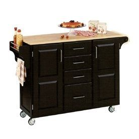 Home Styles 52.5-in L x 18-in W x 35.75-in H Black Kitchen Island with Casters