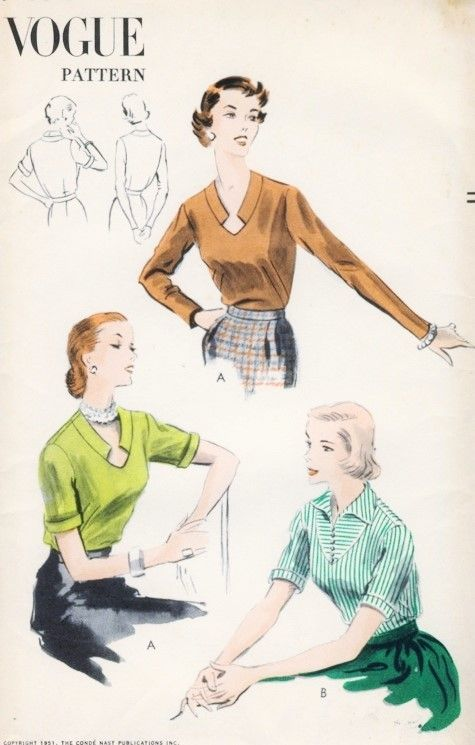 1950s Blouse Pattern Vogue 7493 Two Styles Unique Notched Keyhole ...