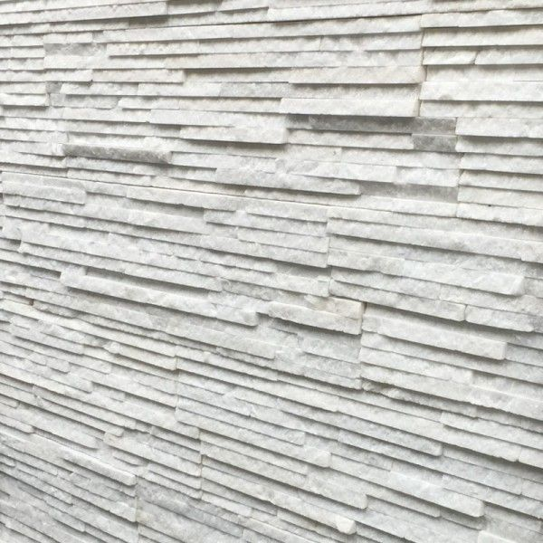 Split Face WHITE QUARTZ SPARKLY STRIP Natural Stone Cladding