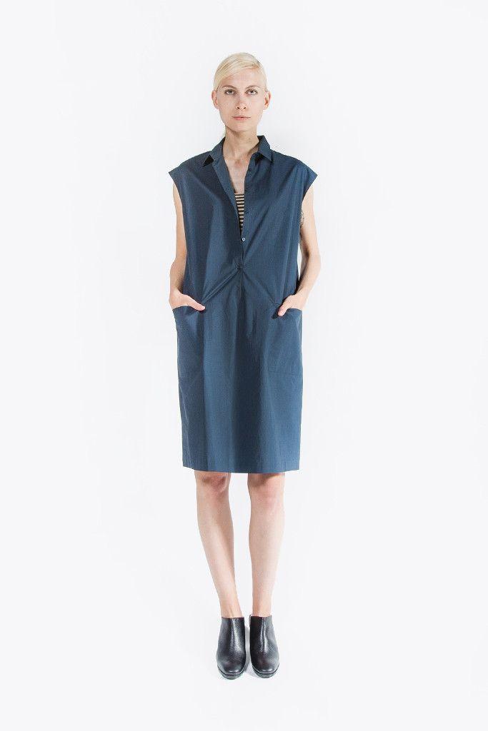 Sleeveless Button Down Dress, Ultramar