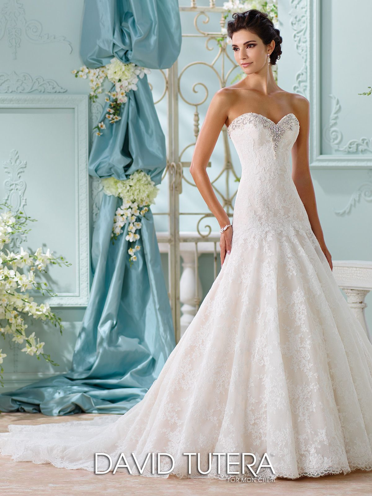 Allover Lace & Beaded A-Line Wedding Dress-116205 Chasca | David ...