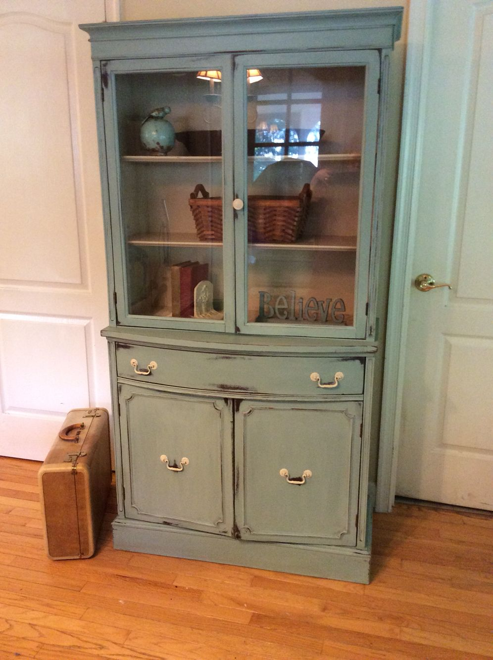 Small China Cabinet Painted With Annie Sloan Duck Egg Blue And Distressed Interior Painted With Ascp Old Ochre China Cabinet Small China Cabinet Blue Shelves