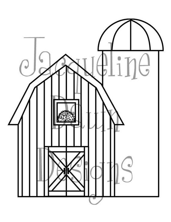 digital Stamp Barn and Silo by paperaddictions on Etsy, $2.00...this ...