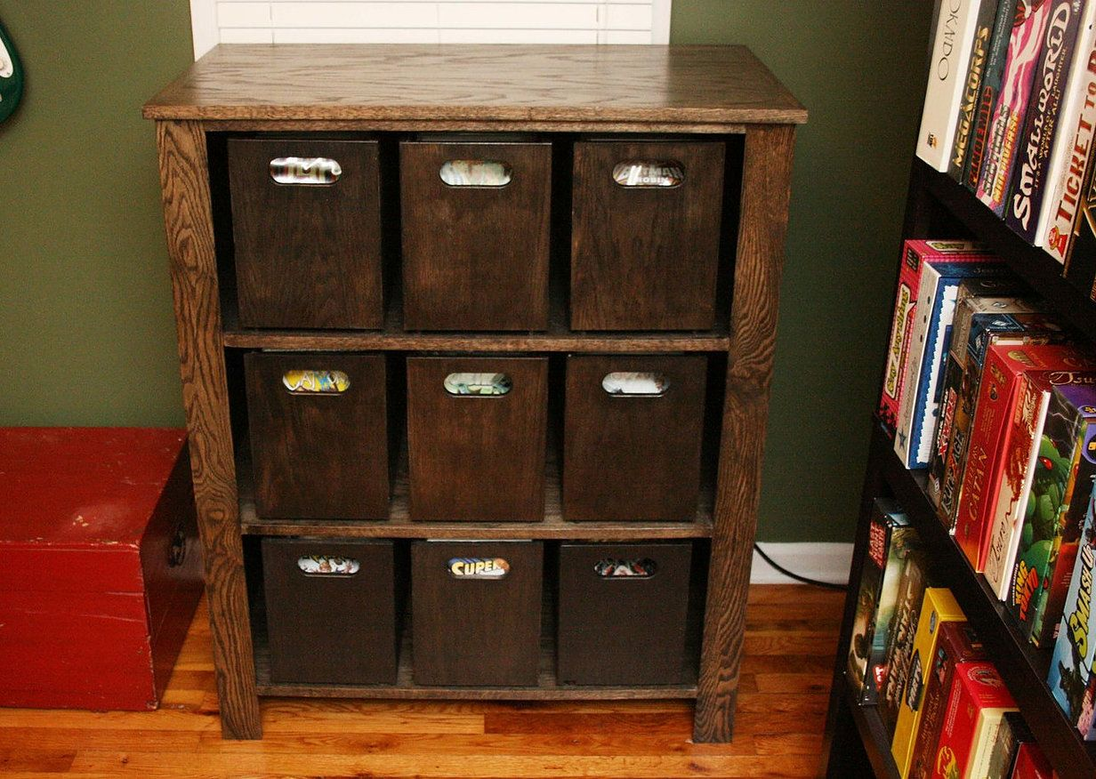 Comic book storage cabinet comic book storage and geek for Comic book box shelves