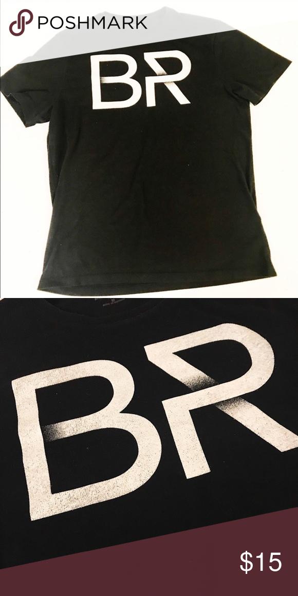 Banana Republic BR logo tee for men Black Tee with white
