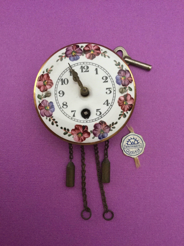 Wintermantel Wall Clock Vintage Mini Enamel Pendulum German kn0wX8OP