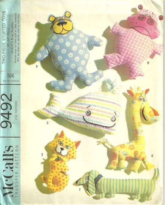 McCalls 9492 1960s Stuffed Animals Pattern Giraffe Whale and More ...