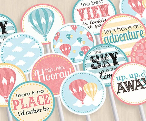 HOT AIR BALLOON Baby Shower Party Circles U0026 Cupcake Toppers In Coral And  Teal  Instant Printable Download