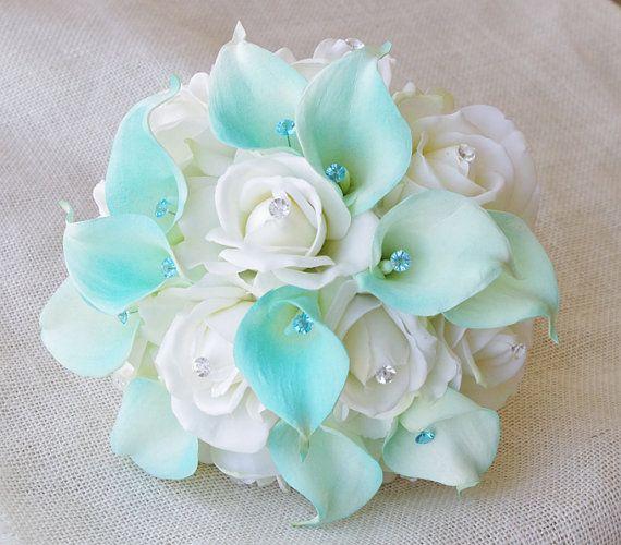 Silk flower wedding bouquet aqua mint blue calla lilies and roses silk flower wedding bouquet aqua mint blue calla lilies and roses natural touch with crystals silk bridal bouquet robbins egg mightylinksfo Images