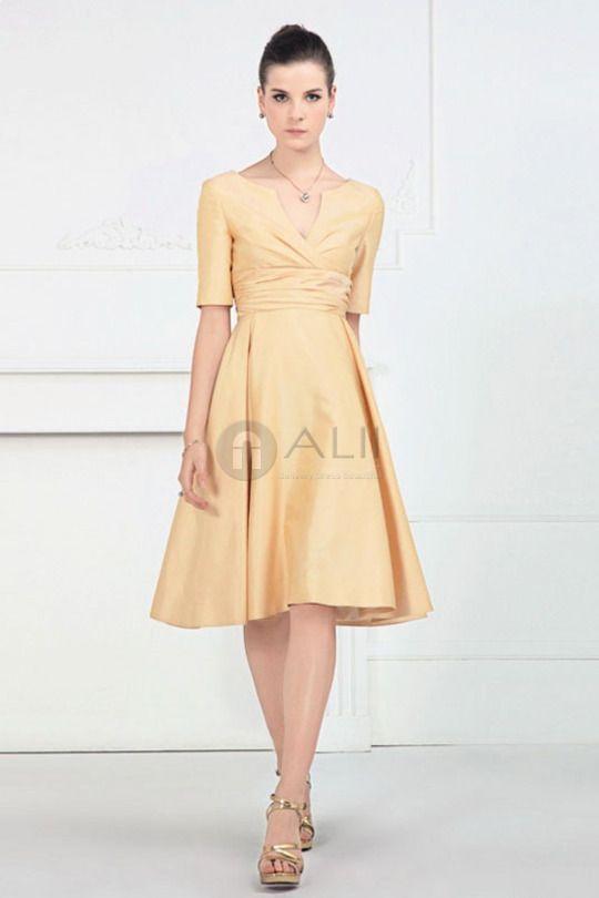 Short Sleeve Casual Full Figure Modest Taffeta Bridesmaid Dress ...