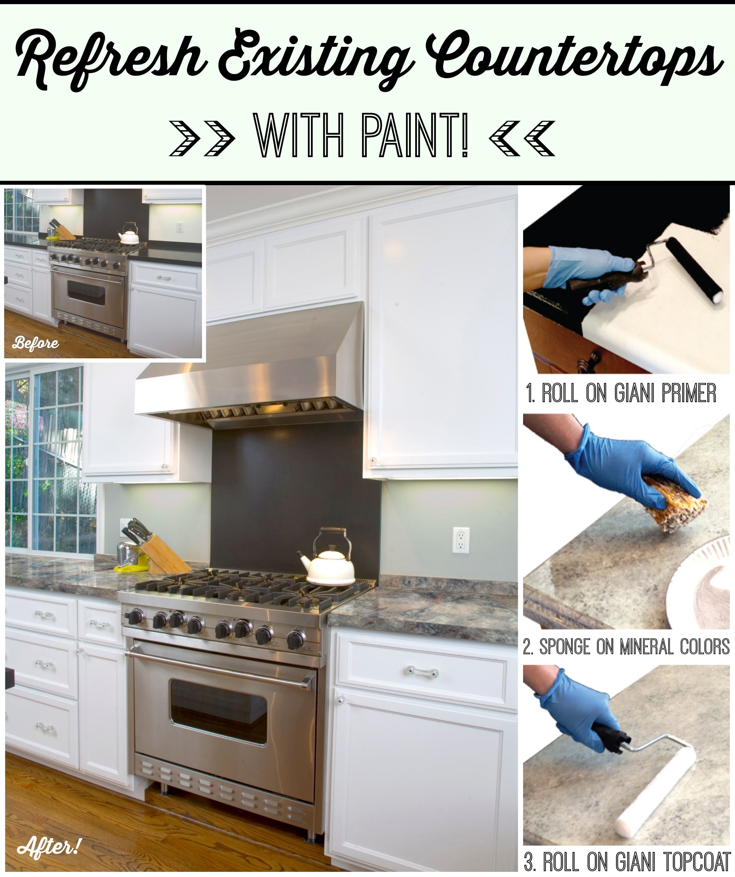 Kitchen Makeover On A Budget How To Update Your Existing Countertops For Under 100 Diy Www Gianigranite C Home Repairs Kitchen Makeover Uncluttered Kitchen
