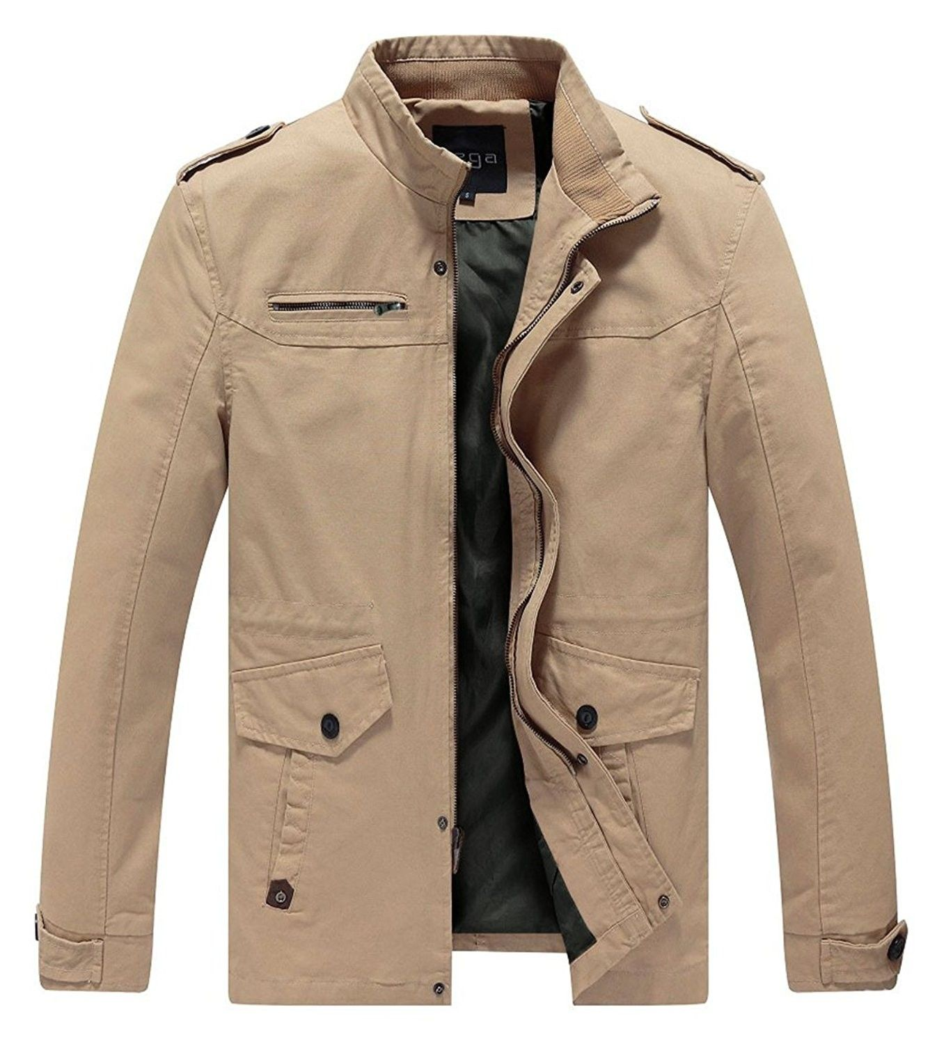 Casual Cotton Coat Stand Collar Military Windbreaker Jacket Khaki Cx1244fechz Men Casual Casual Outerwear Thick Jackets [ 1500 x 1346 Pixel ]