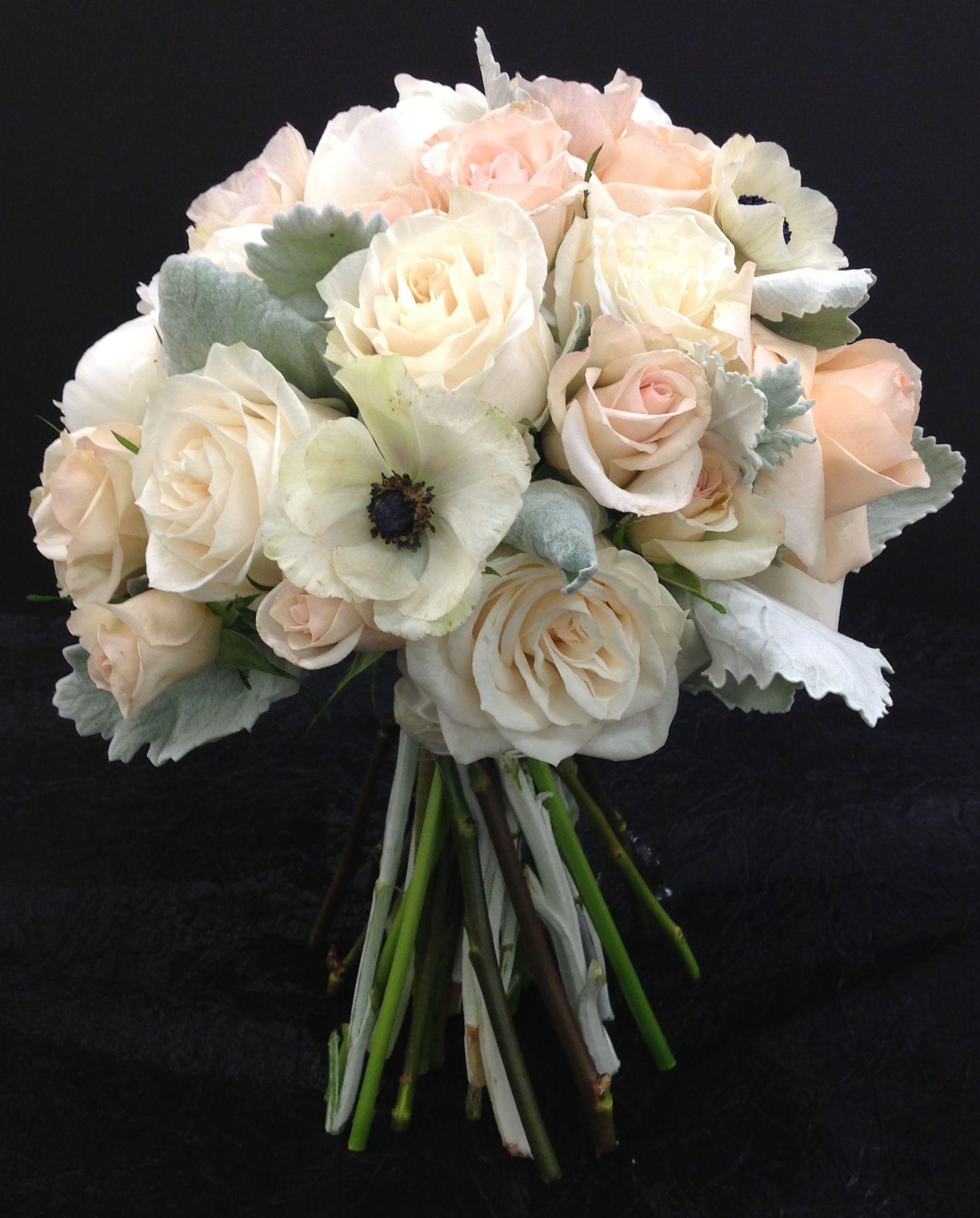 Bridal Bouquet With Roses Gardenias Anenomes Peonies Spray