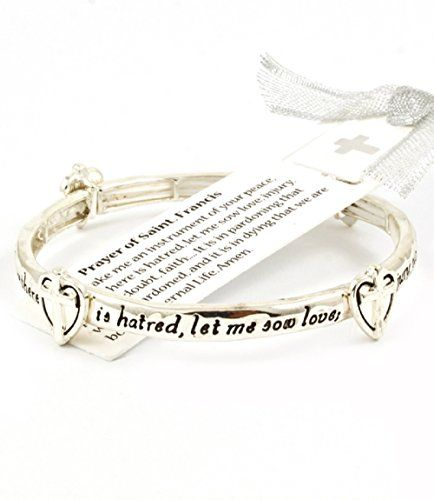 Accessory Accomplice Silvertone Heart & Cross Charm Engraved Prayer of St. Francis Stretch Bracelet Accessory Accomplice http://www.amazon.com/dp/B00EO6048Y/ref=cm_sw_r_pi_dp_.P79tb0CCY48A
