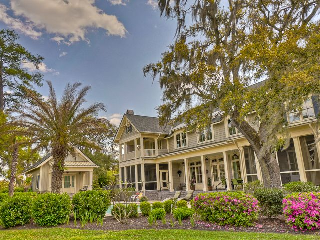 This home has porches on the front and back to enjoy the cool fall evenings in the Lowcountry of South Carolina.