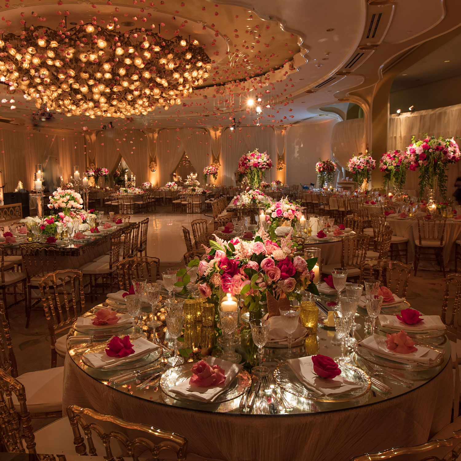 Outdoor Ceremony + Ballroom Reception With Pink Flowers