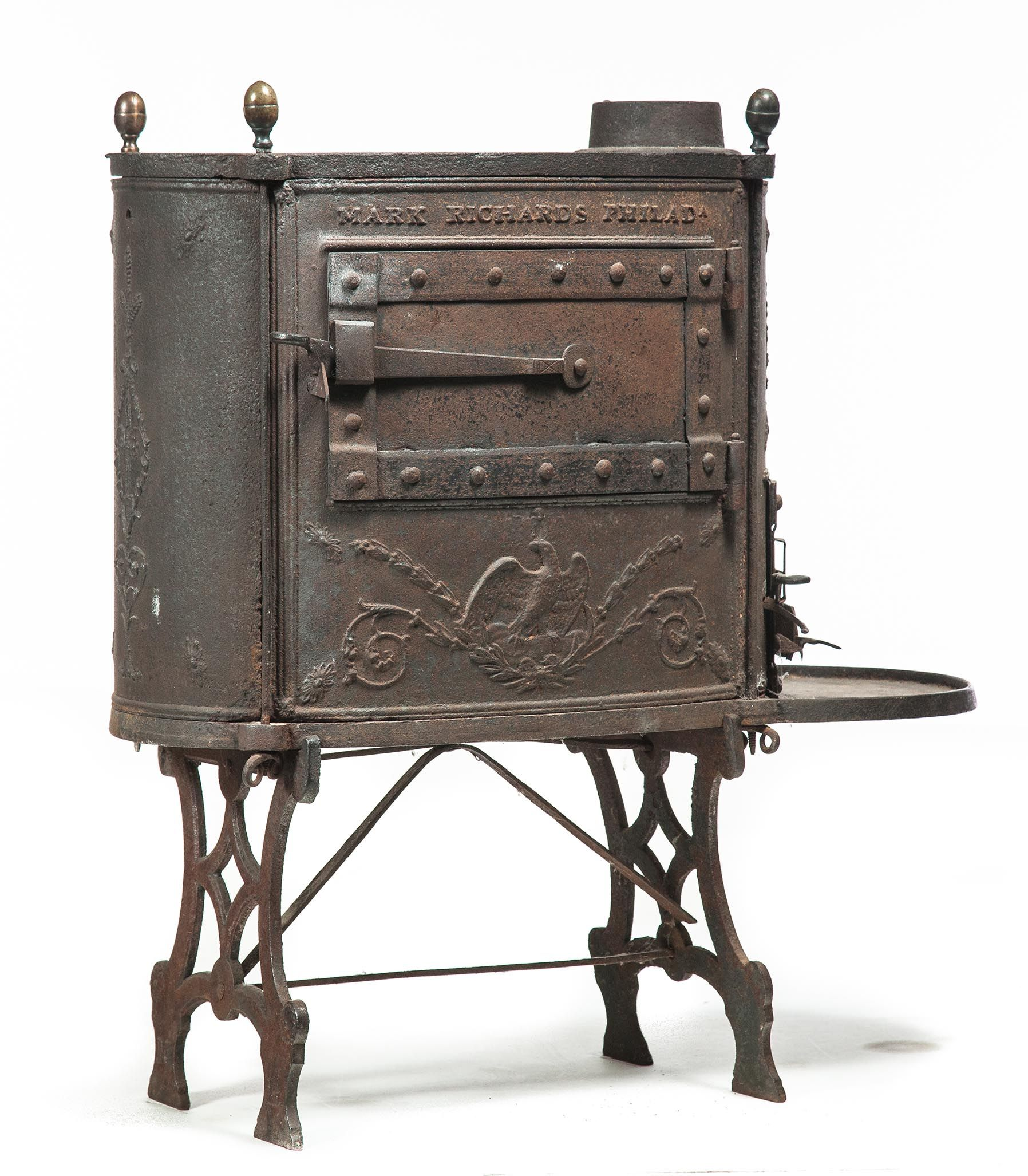 American Cast Iron Stove Early 19th Century Oval With American
