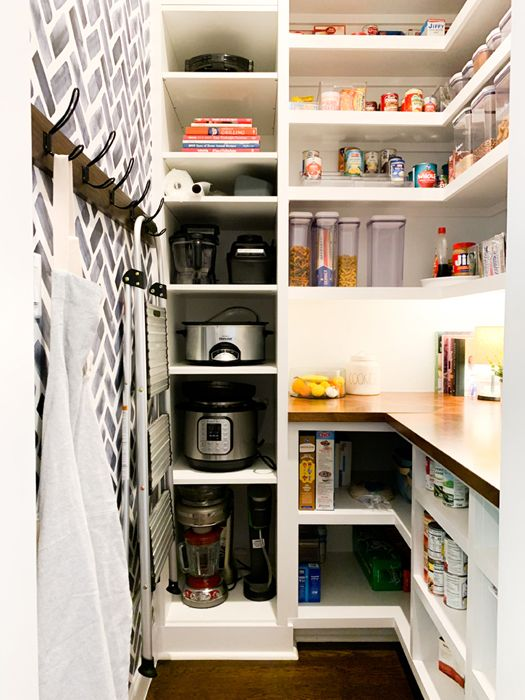 How I Organize My Walk-In Farmhouse Pantry including small appliance storage. #pantry #pantryorganization Pantry Organization | Walk In Pantry | Butler's Pantry | Pantry Plans | Pantry Ideas | Farmhouse | Fixer Upper Style | Pantry Shelves | Pantry Closet | Pantry Design | Pantry Decor | Kitchen Remodel | Pantry Workspace | Pantry Storage | IKEA Hack