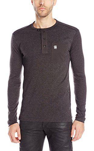 29fb8c3898 G-Star Raw Men s Mazuren Slim Grandad Long Sleeve Henley Shirt ...