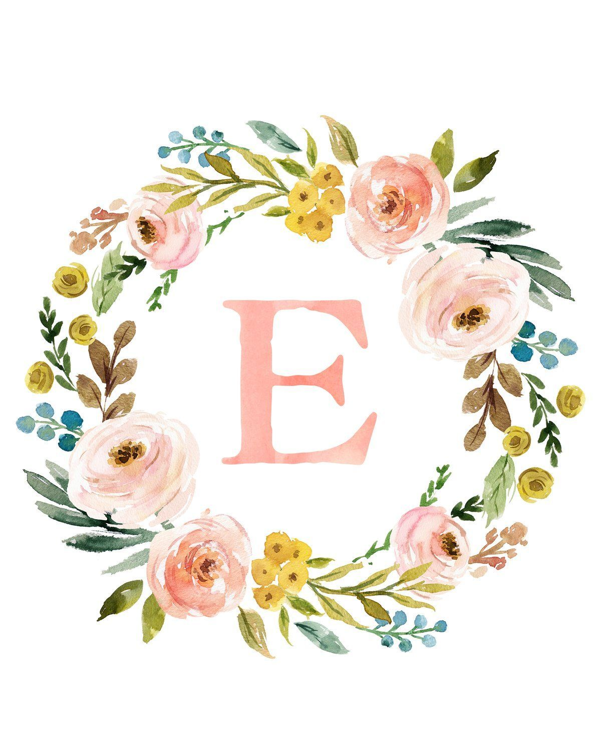 Meadowland Floral Monogram Wreath with Name  Personalized Printable