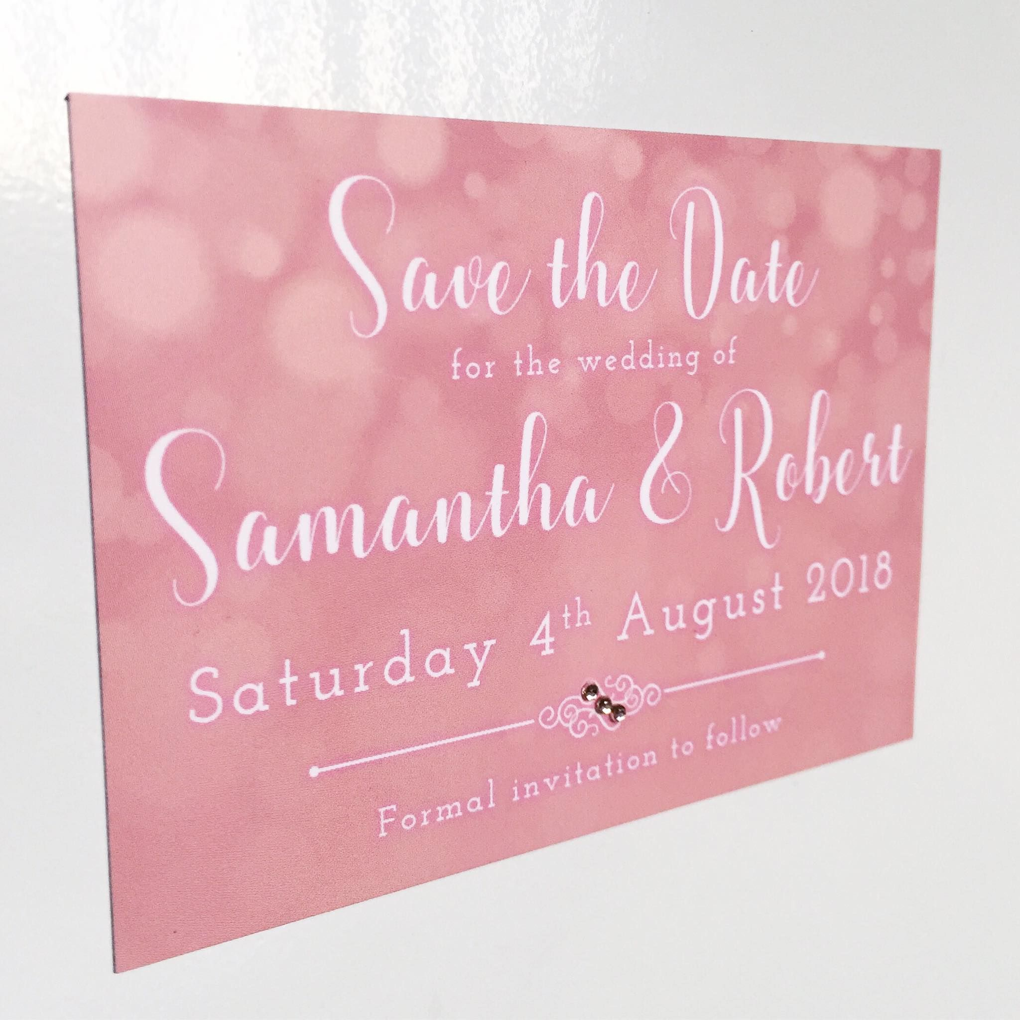 Pink Save the Date magnets with rose gold gems by Nikki Swift ...