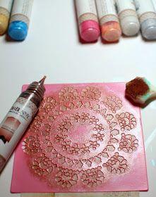 Pearlescents tutorial by Ilene Tell using BoBunny stencils