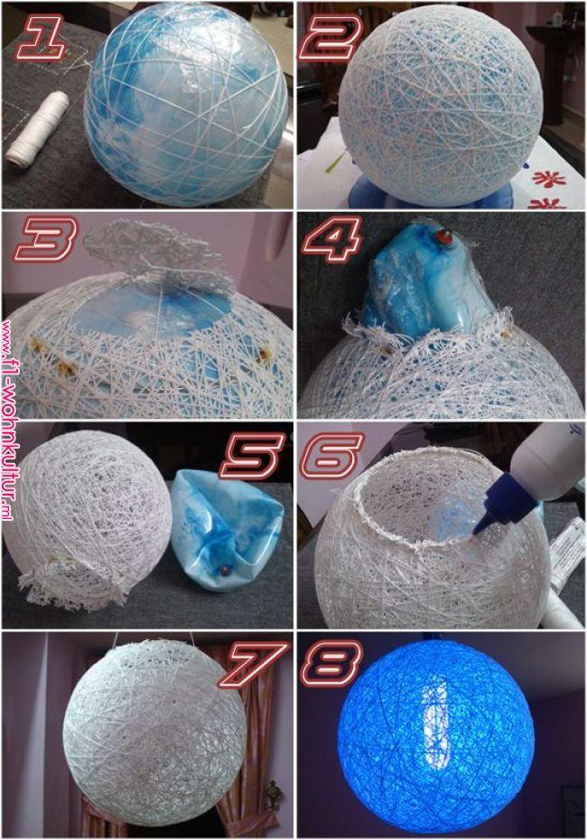 Make Your Own Colourful Homemade Thread Ball Lamp Diy Bola De