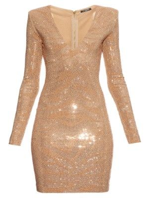 1838668b Long-sleeved glass stone-embellished dress | Balmain | MATCHESFASHION.COM